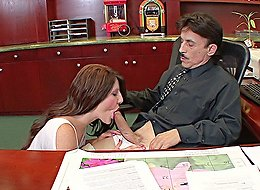 Brooke Foxxx seduces her well-endowed stepdad right in his office and gets her brains fucked out big time