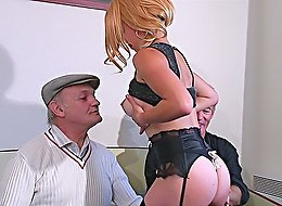 Younger chick seduces two older men with her beautiful tits and sexy lingerie and gets double-banged with no mercy