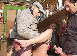 Slutty chick can't resist the desire to suck this old creamy cock and get double banged in a dirty wooden tool shed