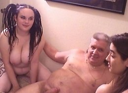 Three plump babes in extra-ordinary group sex