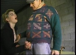 Kinky blonde tramp sucks on old man's cock