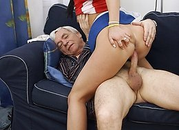 Grandpa penetrating a maid