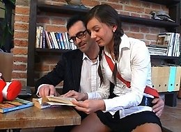 Lustful coed has fun with her teacher who felt horny this day and was squeezing Lara's tight tits when she rode his wrinkled cock.