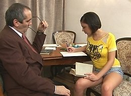 Sexy dark haired Nelly liked when her old teacher sticks his cock between her huge appetizing buttocks and cums on her face.
